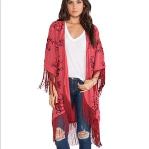 Free People Red Embroidered Fringe Kimono